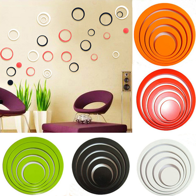 5 Pcs/lot Circles 3D Removable Art TV Wall Stickers Bright Color Exquisite Room Decoration Decals Abstract Style Art Wallpaper