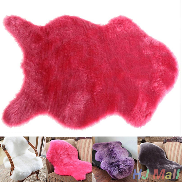 Washable Soft Fluffy Wool 2-in-1 Chair Seat Cover Carpet Pad Mat Bedroom HOT