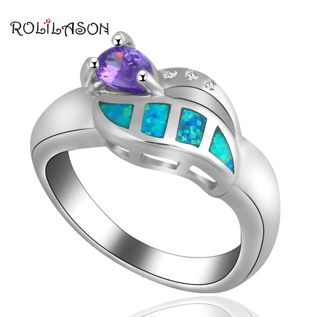 Popular design New arrival Zircon Blue fire Opal silver plated  Rings for women fashion jewelry USA Size #7 #8 OR483