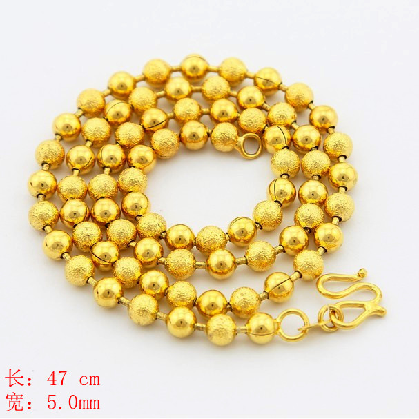 New Arrival Fashion   24k GP gold color  5mm Necklace Mens & Women Yellow Gold Golden Jewelry Necklace hot sell YHDN050