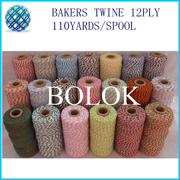 Free shipping 55 kinds color Baker twine 110yards/spool (20pcs/lot) gift packing rope, cotton packing rope