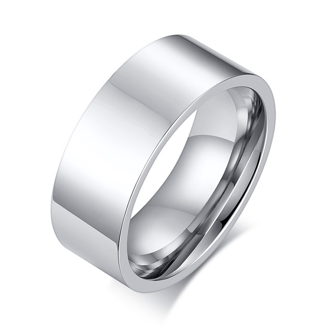 Free Laser Engraving with any message 8mm High Polished Silver Plain Wedding Rings in Stainless Steel