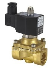 """Free Shipping 5PCS 2 Way Solenoid Operated Pneumatic Air Valve Brass 1"""" 220V AC DIN Coil"""