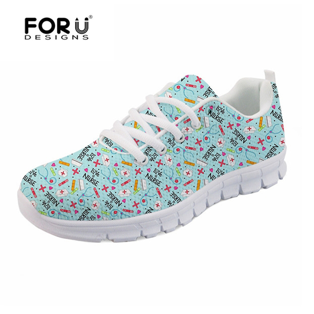 FORUDESIGNS Cute Women Casual Sneakers Flats Cartoon Nurse Pattern Women's Light Weight Breathable Mesh Shoes for Ladies Flats