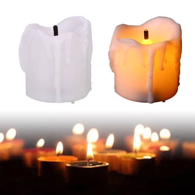 ABS Candle Lamp Night Light Christmas Festival Decoration Party Supply White