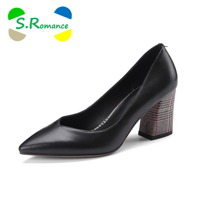 S.Romance Women Pumps 2018 Genuine Leather New Arrival Fashion Elegant Pointed Toe Office Lady Pump Woman Shoes Black Gray SH031