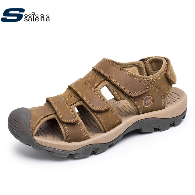 2020 Men Sandals Men Leather Sandals Best Quality First Layer Of Leather Beach Shoes Plus Size Eu38-46 B2801