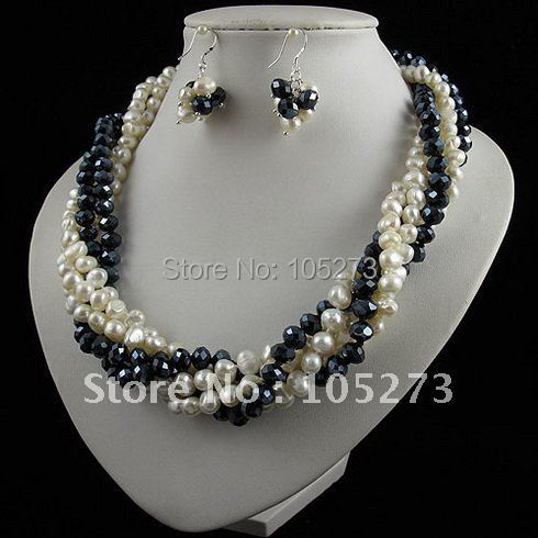 Charming!pearl jewelry set 5rows AA 8-9mm white color Genuine freshwater pearl & crystal necklace earring free shipping A2464