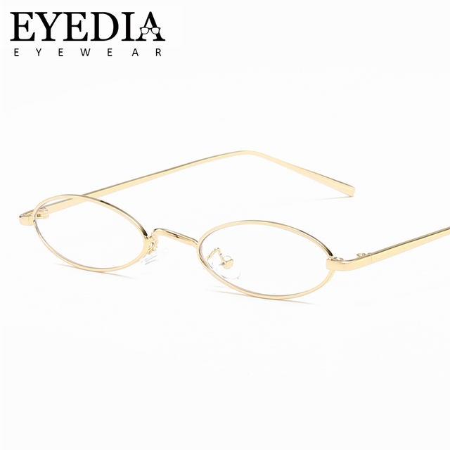 New Unisex Decorative Small Oval Golden Silver Glasses Frames With Clean Lens Spectacles Eyeglasses With UV400 Sun Lens L7779CJ