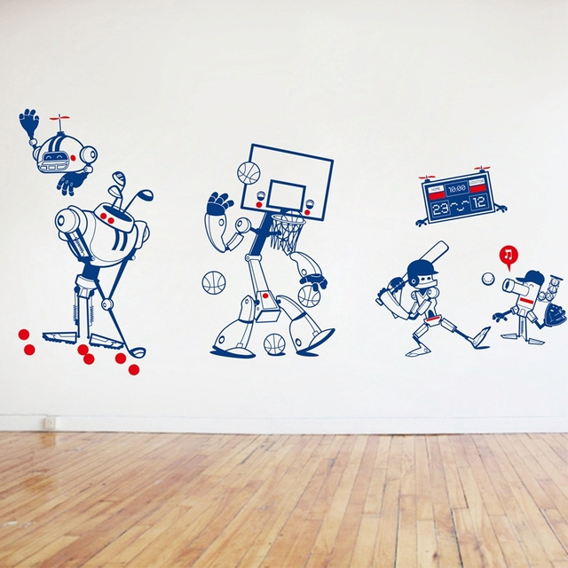 New Original Design/Cute Robot Design Style/Removable Waterproof Vinyl Cartoon Sports wall Sticker/Nursery/Boys Bedroom,k001