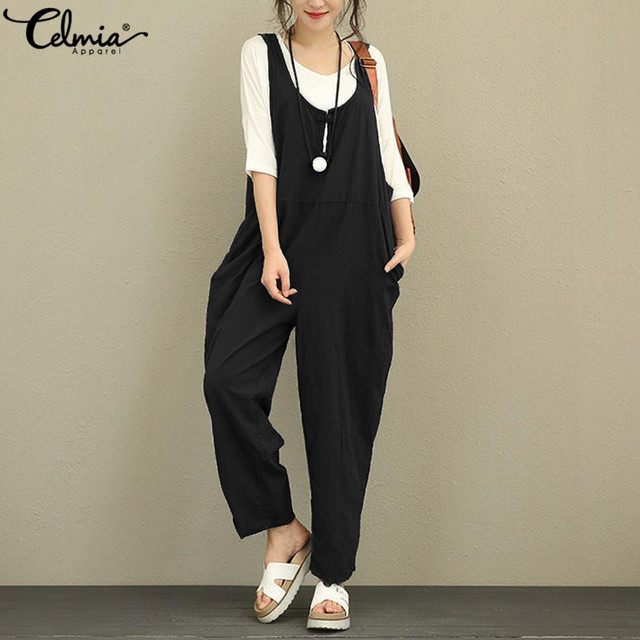 Celmia Women Linen Jumpsuits 2020 Summer Backless Sleeveless Casual Loose Long Trousers Vintage Dungarees Plus Size Overalls 5XL