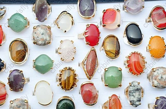 wholesale jewelry lots 50pcs Mixed multicolor natural stone gold rings NEW Bulk Women Mens Jewelry Free Shipping