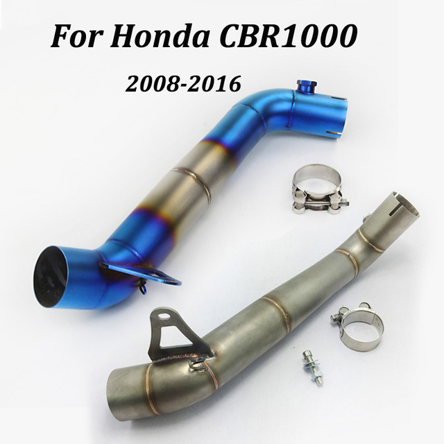 Motorcycle Exhaust Muffler Middle Link Pipe Stainless Steel Motorbike Exhaust  Pipe Slip on For Honda CBR1000 2008-2016