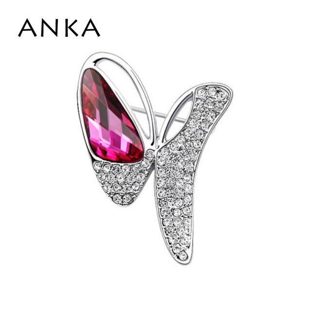 ANKA Hot Sale Women Butterfly Crystal Brooch Wedding Dress Brooches Fashion Brooch Pin Main Stone Crystals from Austria #77125