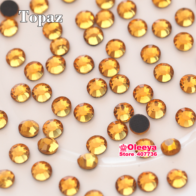 Topaz Golden DMC Hot fix Rhinestone ss6 ss10 ss16 ss20 ss30 Flatback Iron On  Strass Crystals Stones for Hot Fix, Motifs Y0161