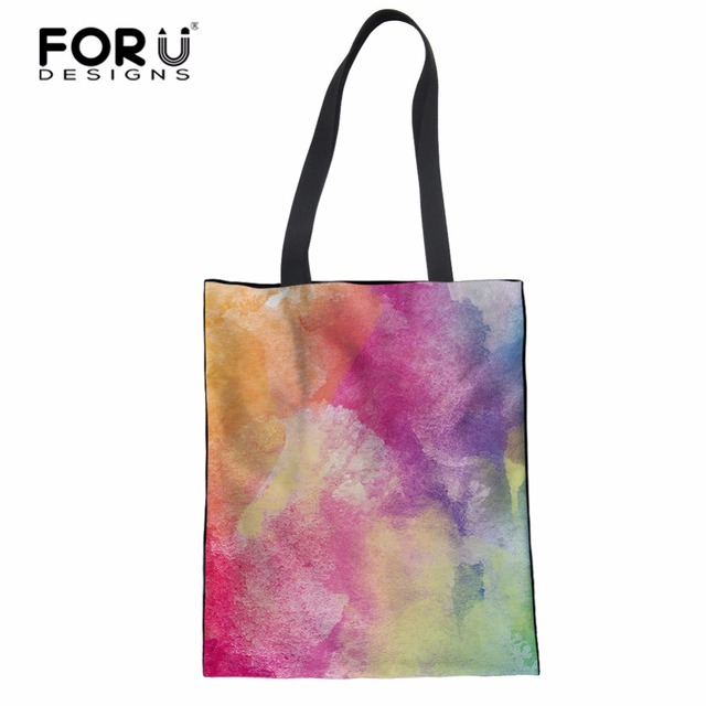 FORUDESIGNS Women Canvas Tote Bags Colorful Printed Soft Handle bag Daily Use Canvas Handbags Girls Shopping Bag School Book Bag