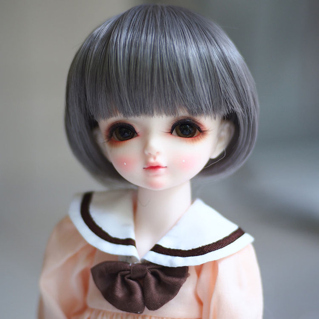 Newest 1/3 1/4 1/6 Bjd Wig High Temperature LOVELY Grey Short Straight Doll Wig SD BJD hair Wire