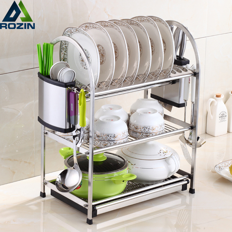 Buy Stainless Steel Dish Rack Set 3 Tier Kitchen Organizer Tools Plate Spoon Storage Frame Drain Bowl Rack Kitchen Dish Shelf In The Online Store Rozin Official Store At A Price Of 115