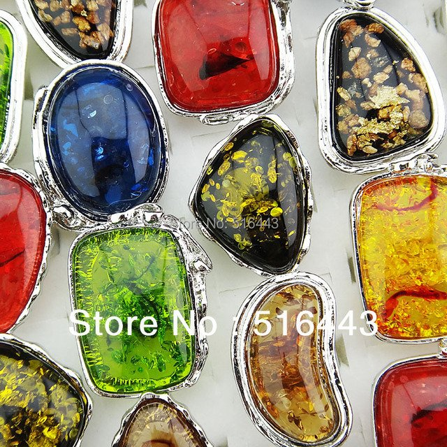 Vintage 10pcs Mix Color Fashion Big Amber Silver Plated Women Mens Adjustable Rings Wholesale Jewelry Lots  A-768