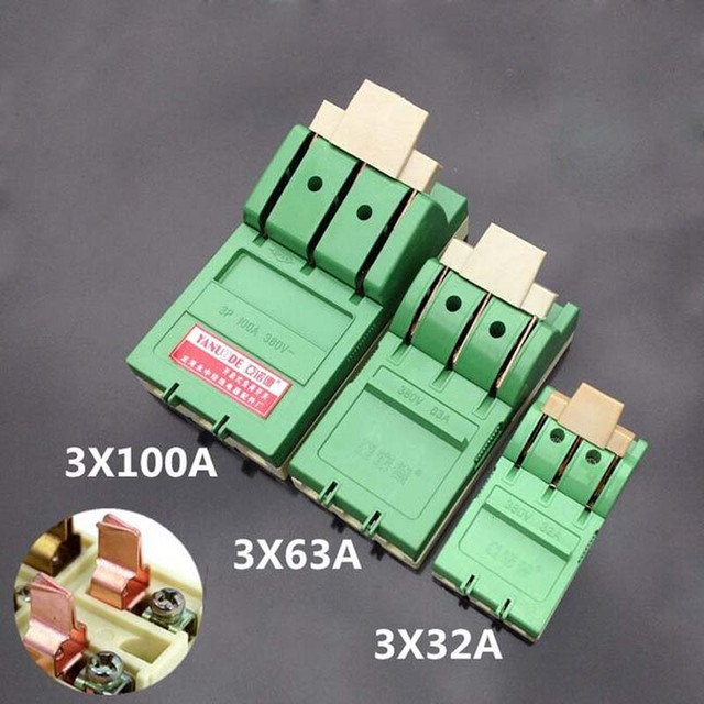 2pcs Three Single-phase High -power Switch Copper Knife Switch Open Load 3*32A 3*63A 3*100A 380V