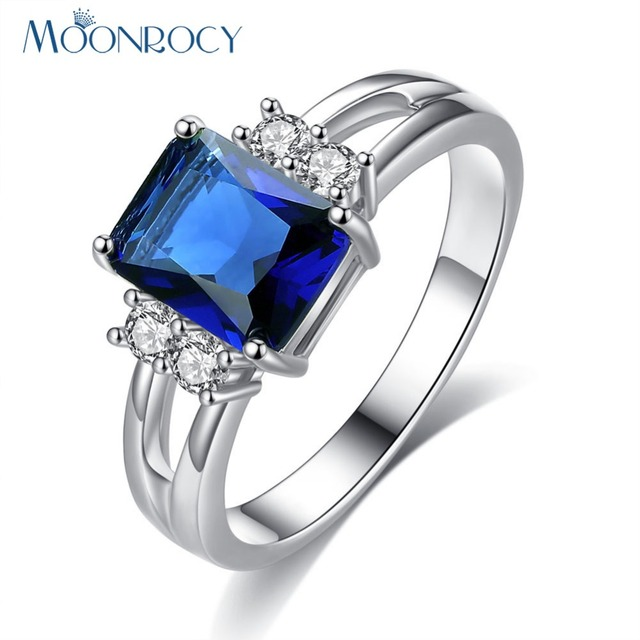 MOONROCY Free Shipping Fashion Crystal Wholesale Zirconia Jewelry Wholesale Silver Color Blue Purple Red Wedding Ring for Women