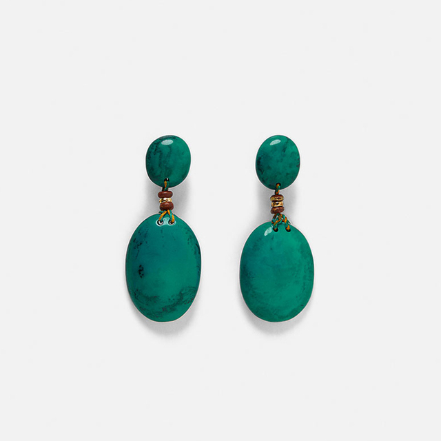 AENSOA Vintage Green Oval Resin Drop Earrings For Women Geometric Statement Earrings Party Fashion Jewellery Gift Pendientes