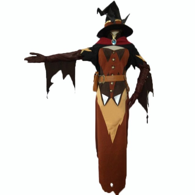 OW halloween Sorceress witch Cosplay Costume with hat