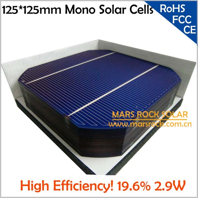 600pcs/Lot Wholesale A Grade Monocrystalline PV Solar Cell 125x125mm, High Efficiency 19%, 2.9W Each, Used for Make Solar Panel