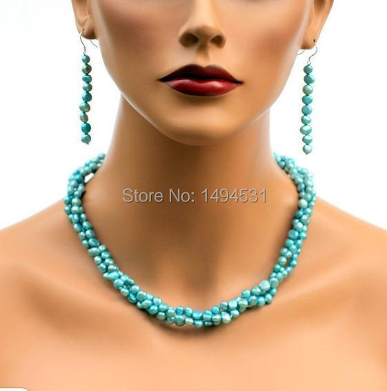 Wholesale Pearl Jewelry - Baby Blue Color 3 Strands Baroque Shape Genuine Freshwater Pearl Necklace Earrings Jewelry Set