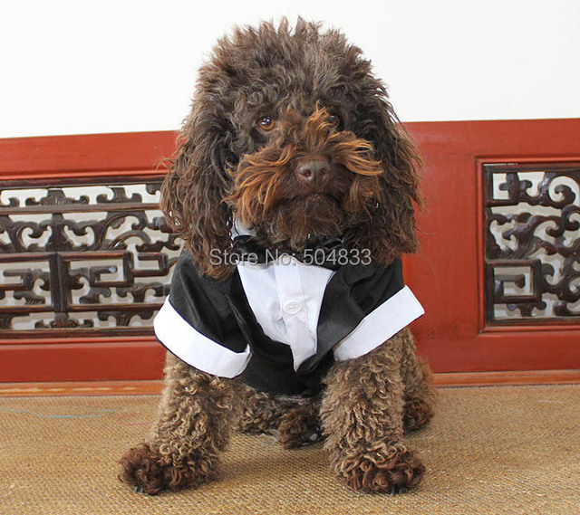 Dog Suit Tudexo Pets Wedding Party Formal Clothes with Bowtie XS-XL white Black Gray