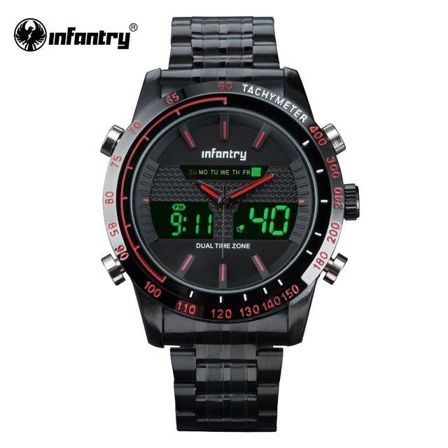 INFANTRY Mens Sports Wristwatches Casual Quartz Watch Red Hands New Clock for Male Dual Time Military Digital Relogio Masculino