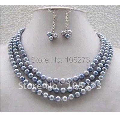 Elegant! pearl jewelry set AA 7-8MM 3rows Gray color Genuine freshwater pearl necklace +earring Nice jewelry Free shipping NF170