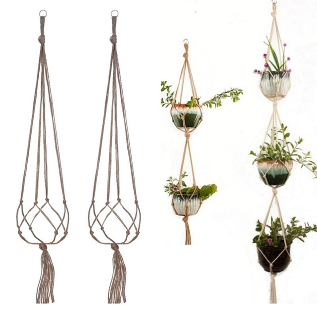 Wall Hanging Pot Holder Macrame Plant Hanger Hanging Planter Basket Jute Rope Braided Craft