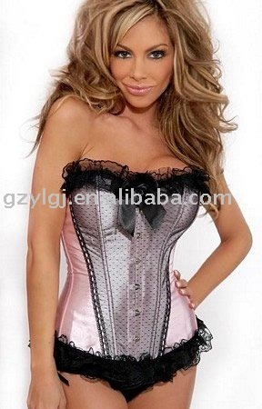 Free Shpping wholesale Sexy  lingerie corset thong S-XXL pink a820