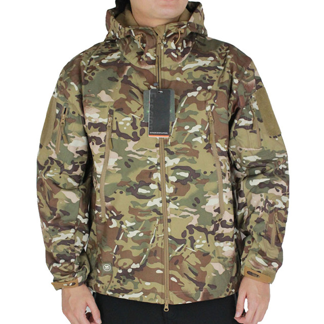 Men's Softshell Windbreaker Military Tactical Camouflage Jacket Hunting Clothes Outdoor Sport Airsoft Camping Hiking Hood Coat
