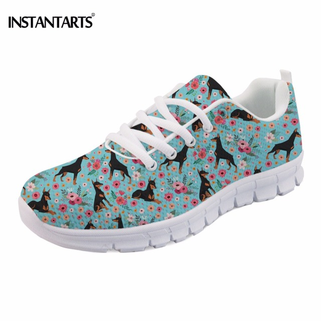 INSTANTARTS Casual Spring Women Flat Shoes Funny Dog Doberman Flower Print Female Mesh Flats Shoes Breathable Teen Girls Sneaker