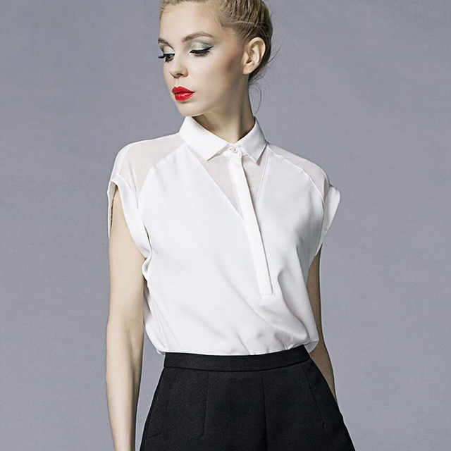 Womens Tops And Blouses Ladies Tops White Blouse Women camisas mujer haut femme Short Sleeve 2019 Summer Chiffon Blouse Batwing
