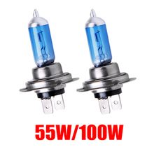4pcs Car Front Halogen Light Headlight H7 Bulb Ultra White light 55W 100W DC12V