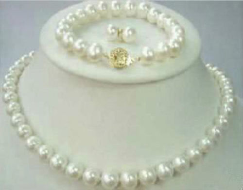 Selling Jewelry>>>8-9mm Natural Akoya Cultured Pearl  GP Necklace + Bracelet + Earrings set