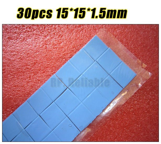 30pcs 15mm*15mm*1.5mm Soft Heat Transfer Silicone Pads for Laptop Heatsink Graphic Card GPU Chips LED Memory Thermal Conductive