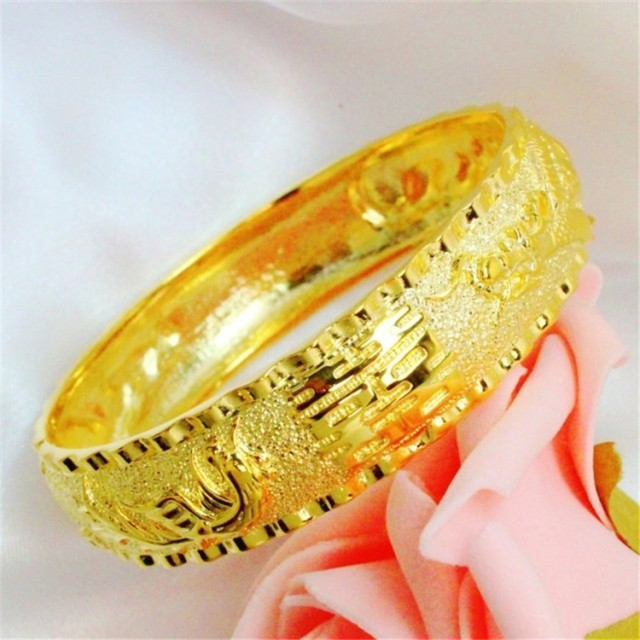 FREE SHIPPING 24K Plated 1:1 Quality Hongkong Gold Shop Handmade Carved Dragon & Phoenix Bangles Bracelets Wedding Jewelry