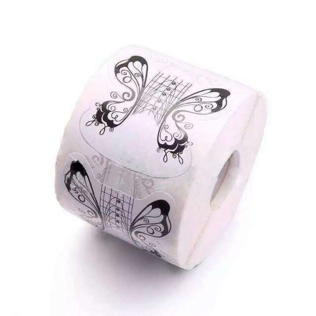 300pcs/Roll Black Butterfly Nail Forms Tips Extension Builder Acrylic UV Gel Tips Guide Sticker