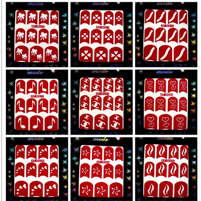 wholesale High Quality 48 styles available Nail Art French tip hollow out printing model nail stickers 500pcs/lot free shipping
