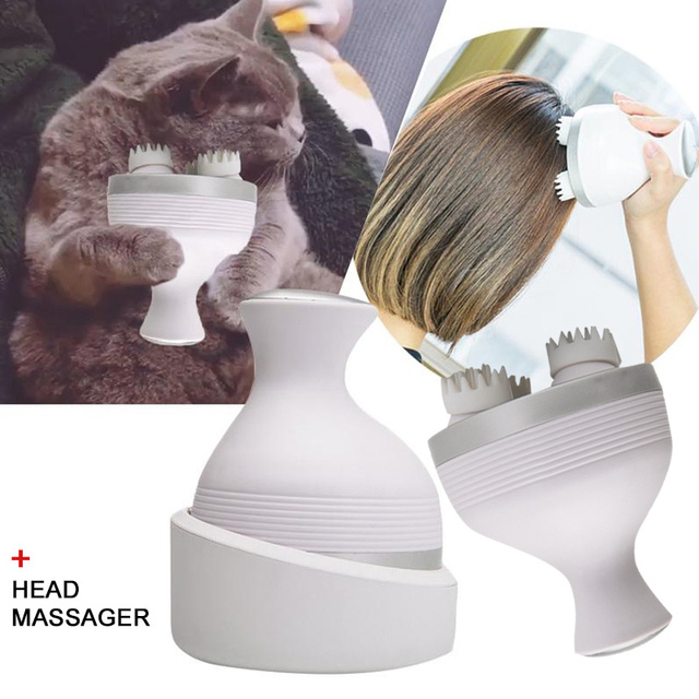 White Durable Head Massage Instrument Hair Growth Electric Head Massager for Cat Massage Back Shoulder Full Body Calf Pain