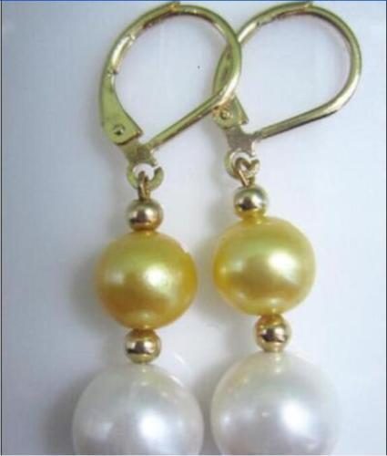 natural AAA 10-11MM south sea white golden pearl earring  SOLID GOLD MARKED