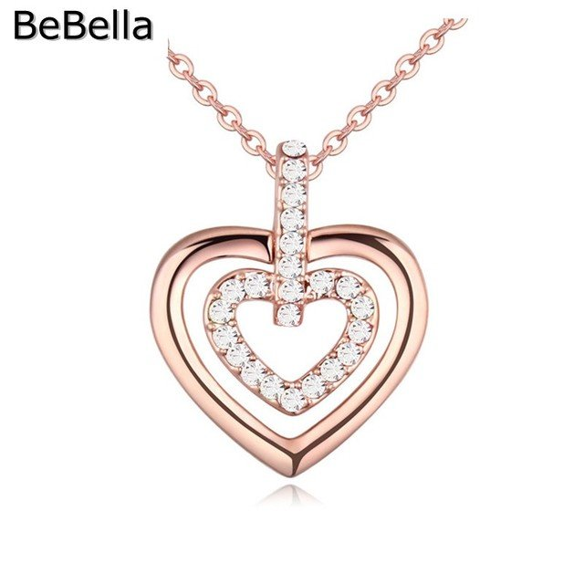 BeBella 3 colors Romantic Pendant  Heart Crystal Necklaces Made With Czech crystal for women gift