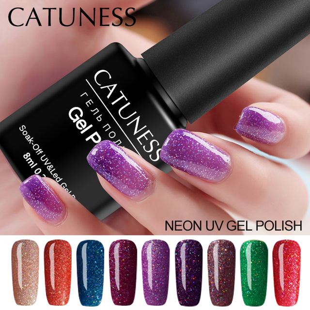 CATUNESS 2019 Neon UV Gel Polish Gellak Paint Semi Permanent Beauty lasting Nail Set Lucky Colorful Gel Soak UV nail gel varnish