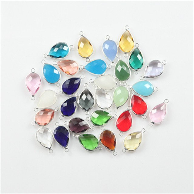 50pcs Charm double buckle13x18mm murano glass bezel beads for DIY jewelry making twinkling water drop crystal bead connector