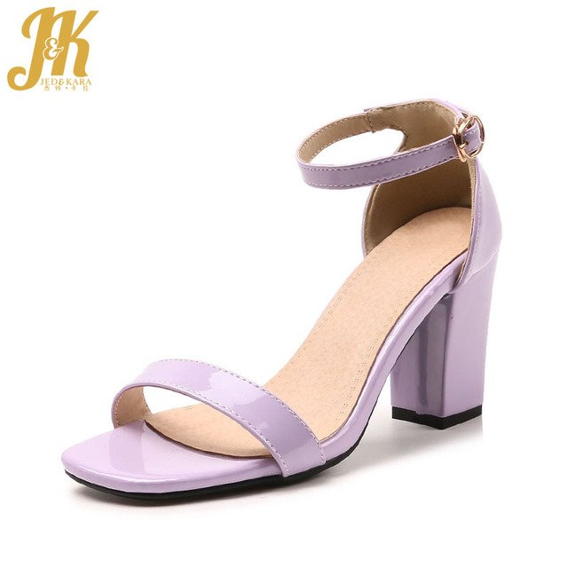 JK New Summer High Heels Sandals Women Open Toe Thick Heels Footwear Ankle Strap Sandals Shoes 2018 Fashion Office Ladies Shoes