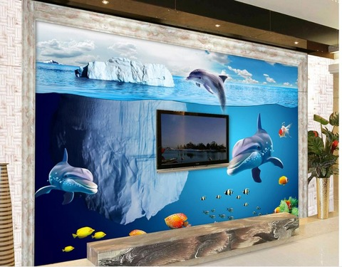 Buy Custom 3d Photo Wall Paper Underwater World Dolphin Iceberg Living Room Tv Backdrop Bedroom 3d Photo Wallpaper In The Online Store Kuangdu 3d Floor Company At A Price Of 30 Usd